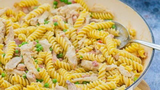 Easy Leftover Roast Chicken Pasta - Easy Peasy Foodie