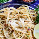 Browned Butter Aglio e Olio Spaghetti Recipe | At The Table Tonight
