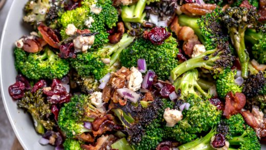 Charred Broccoli Salad with Hot Honey Dressing - Host The Toast