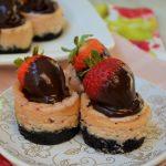 Mini Chocolate Covered Strawberry Cheesecakes | Kate's Recipe Box