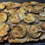 Oatmealpizza with grilled eggplant and anchovy - CosetteIsCookin'
