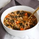 One-Pot Tuscan Farro Soup with White Beans and Kale