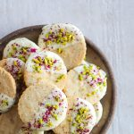 Thandai Shortbread Cookies dipped in White Chocolate w Pistachios and Rose  Petals - Jam Lab