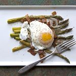 A quick, easy* spring lunch: Roasted Asparagus with Poached Eggs and  Lardons – Blue Kitchen