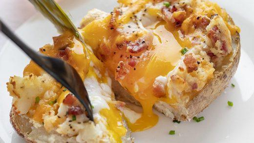 Breakfast Twice Baked Potato - I Am Homesteader