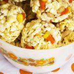 Candy Corn-Peanut Popcorn Balls   NancyC