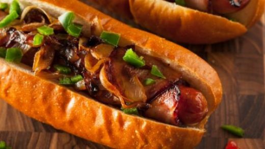 Loaded Bacon-Wrapped Hot Dogs - in 5 Minutes - Nerdy Mamma