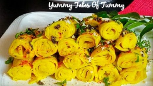 Khandvi in Microwave in 7 minutes - Yummy Tales Of Tummy
