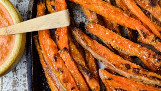 Crispy Baked Sweet Potato Fries with Dipping Sauces | Linger