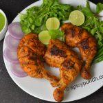 Tandoori chicken recipe on gas & in oven - SpicyPunch