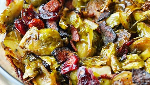 Maple Balsamic Roasted Brussel Sprouts with Bacon and Cranberries - Old  House to New Home