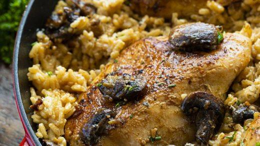 Skillet Chicken and Mushroom Risotto - I Am Homesteader