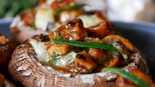 Honey figs cheese stuffed mushrooms - PassionSpoon