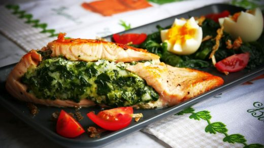 Creamy spinach stuffed salmon; healthy, low-carb - PassionSpoon recipes