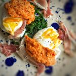 Poached Eggs with Romesco Sauce, Parma Ham, Wilted Spinach – 4sp – Skinny  Kitchen Secrets
