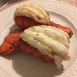 Winner, winner, lobster dinner!!! These were easier to air fry than I  thought! Well.....once they were…   Lobster dinner, Fried lobster, Baked  salmon and asparagus