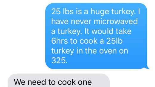 Turkey microwave challenge: Send your mom a text that says 'How long do I  cook a 25 lb. turkey in the microwave?' - ABC7 San Francisco