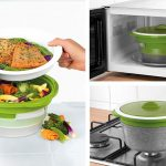 Salter BW06259 DUOsteam Healthy Microwave Vegetable, Meat and Fish Steamer  with Carbon Steel Silicone Lid, Green : Amazon.co.uk: Home & Kitchen