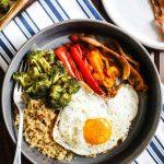 Bacon Quinoa Breakfast Bowl with Roasted Veggies