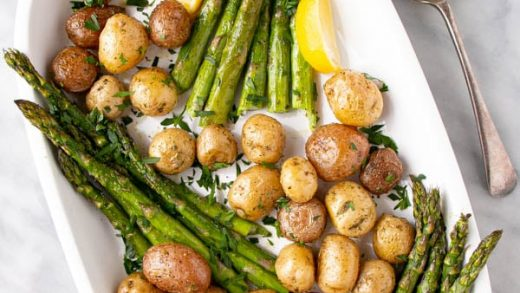Lemon Herb Roasted Potatoes and Asparagus - My Kitchen Love