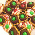 Holiday Pretzel Treats - Pretzels, Hershey Kiss Candies and M&M's