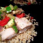 Mahi Mahi with Sautéed Vegetables over Brown Rice - GreenLiteBites