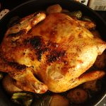Roasting chicken in a convection microwave